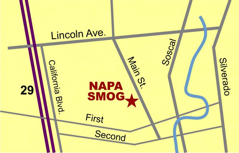 Napa Smog Test Only Map